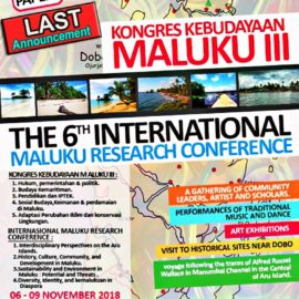 Last Announcement Call for Papers, Kongres Kebudayaan Maluku III – Paper Submission Deadline Extension: October 30, 2018